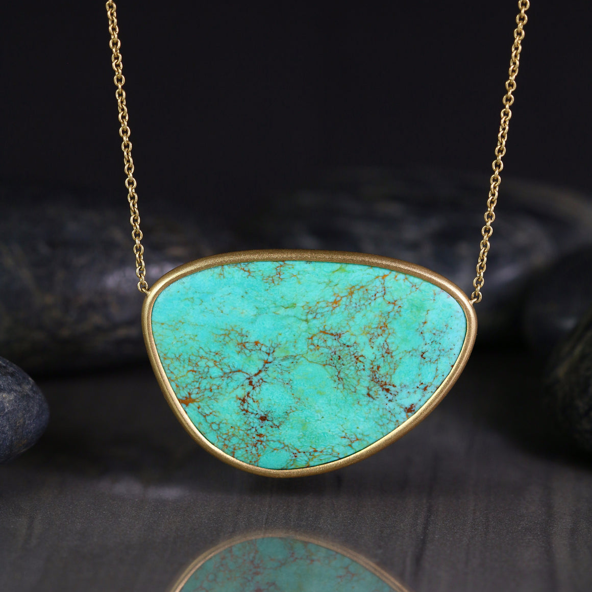 Piedras Necklace with Kingman Turquoise in Yellow Gold