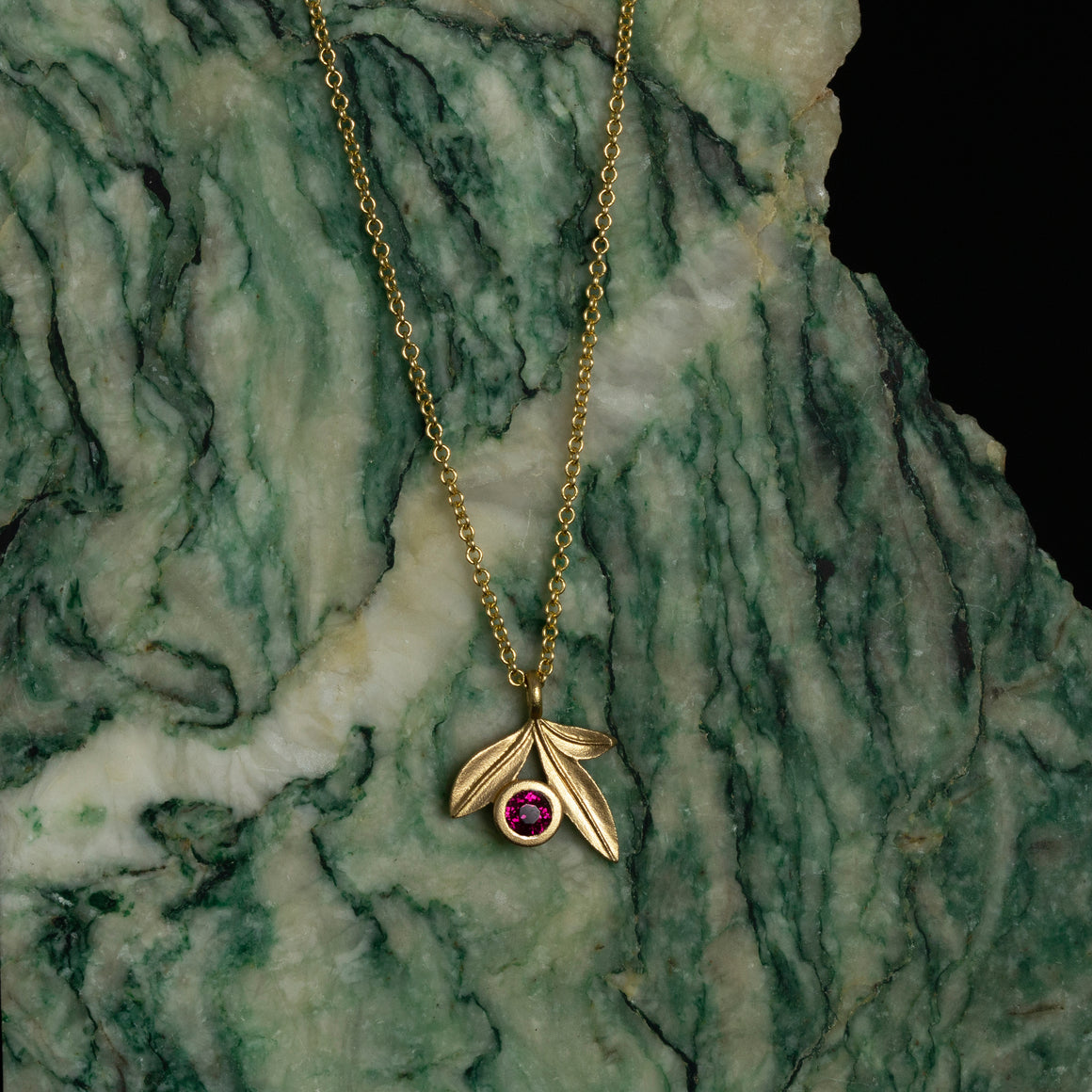 Botanica Leaf Pendant with Ruby in Yellow Gold