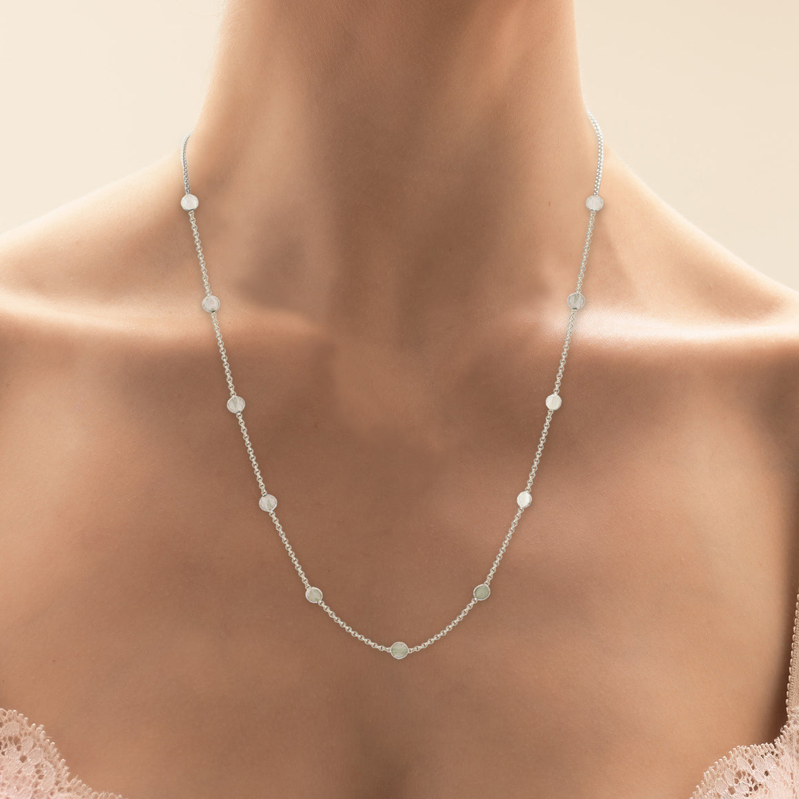 Confetti Necklace in White Gold