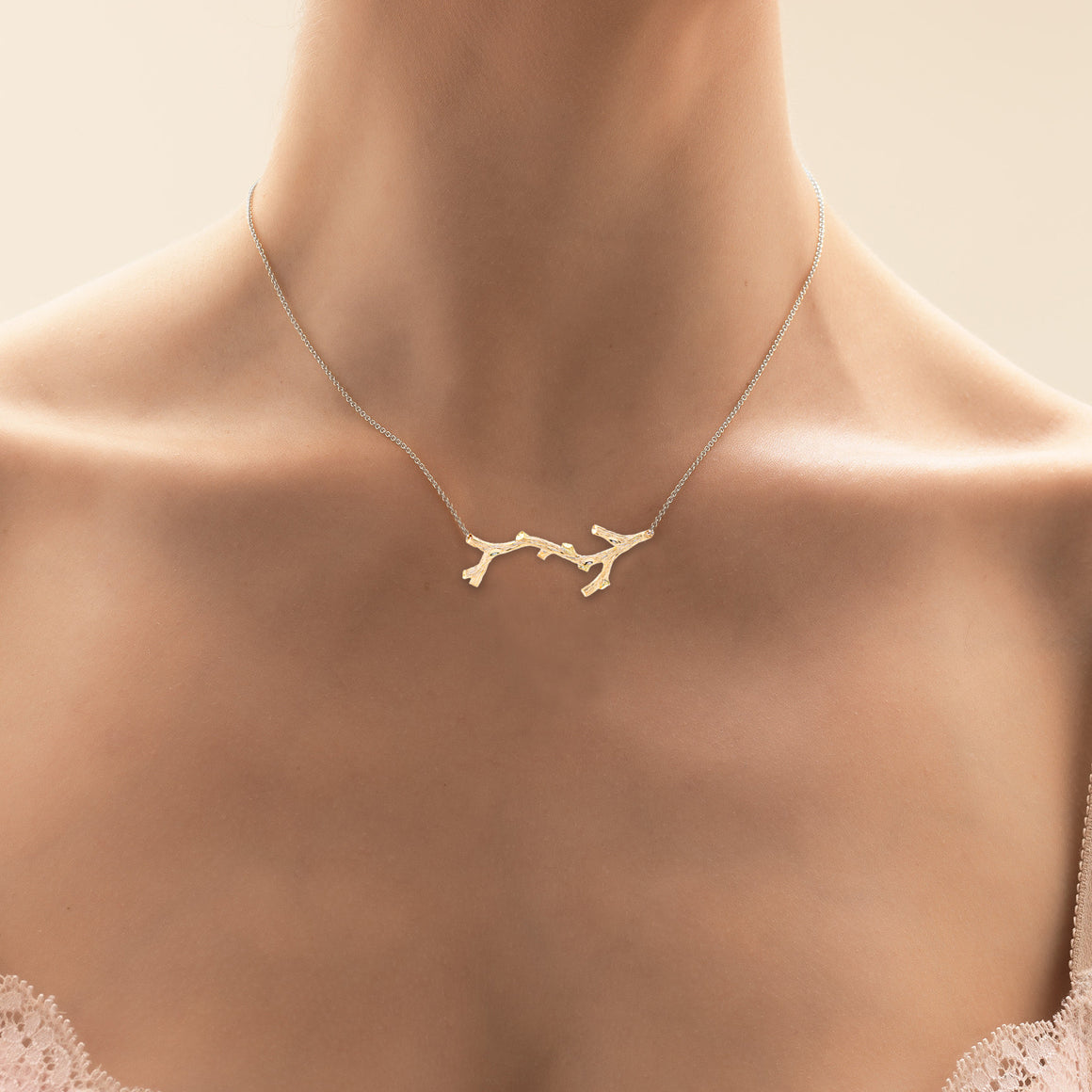 Woodland Branch Necklace in Yellow Gold