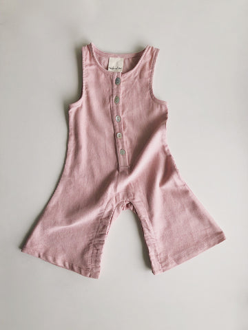 Corduroy flare overall in pink