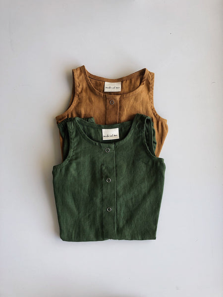 Linen romper in olive or rust