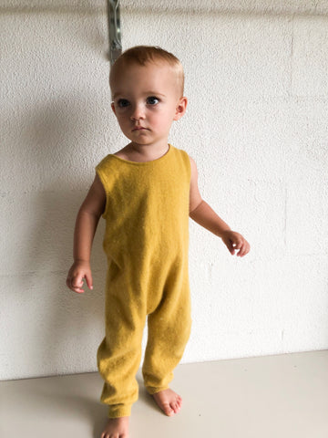 Cashmere romper in yellow