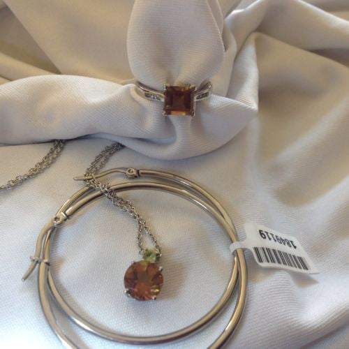 Sterling Silver Alexite Ring and Pendant and Hoop Earrings