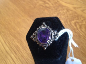 Sterling Silver Simulated Purple Diamond Ring, Size 9