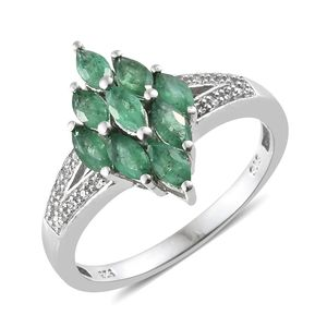 Sterling Silver Zambian Emerald Ring, size 9