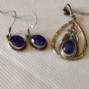 Yes SOLD. Sterling Silver Tanzanite Set of Earrings and Pendant