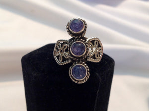 Yes SOLD. Sterling Silver Tanzanite Ring, size 6, Artisan Crafted