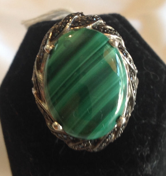 Sterling Silver African Malachite Ring, size 6