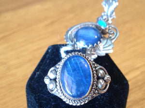 Sterling Silver Himalayan Kyanite Ring and matching Pendant, Artisan Crafted