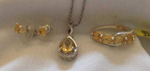 Sterling Silver Brazilian Citrine Ring, Earrings, and Pendant