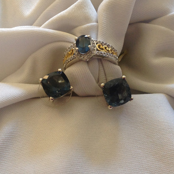 Sterling Silver Belgian Teal Fluorite Ring and Earrings with Gold accents