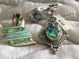 Sterling Silver Abalone Shell Ring, Pendant and Earrings