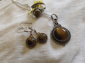 Sterling Silver Tiger's Eye Ring, Pendant and Earrings
