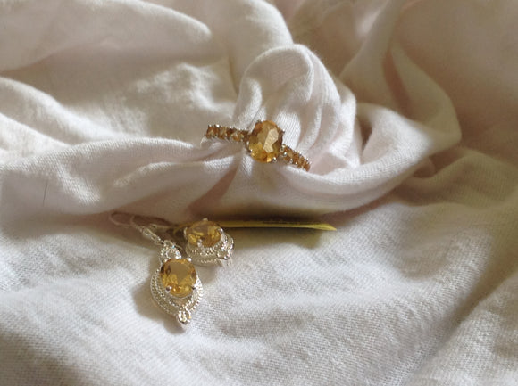 Sterling Silver  Brazilian Citrine Ring and Earrings
