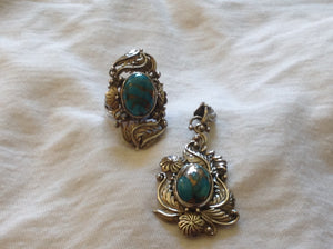 Sterling Silver Mojave Blue Turquoise Ring and Pendant set, Artisan Crafted