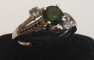 Sterling Silver Russian Diopside Ring with Tanzanite, size 7