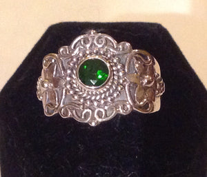 Sterling Silver Russian Diopside Ring, size 9, Artisan Crafted