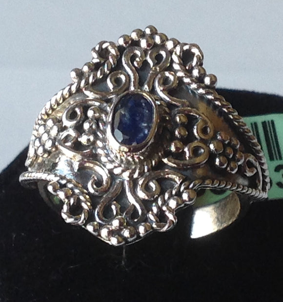 Sterling Silver Blue Sapphire Artisan Crafted Ring, size 8