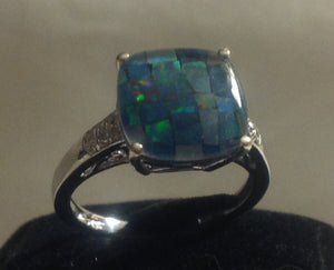 Sterling Silver Australian Mosaic Opal Ring, size 9 and 10