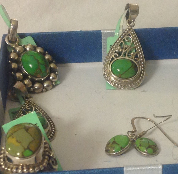 Sterling Silver Mojave Green Turquoise Pendants and Earrings