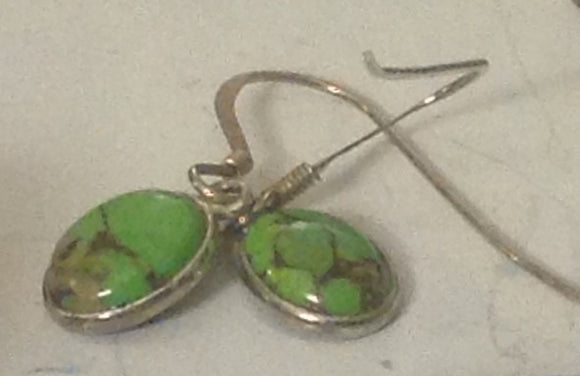 Sterling Silver Earrings:  Mojave Green Turquoise, hook style