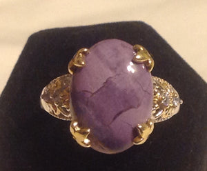 Sterling Silver Utah Tiffany Stone with Yellow Gold accents, size 9