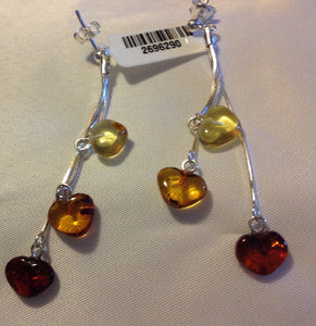 Sterling Silver Earrings:  Amber beads, post style