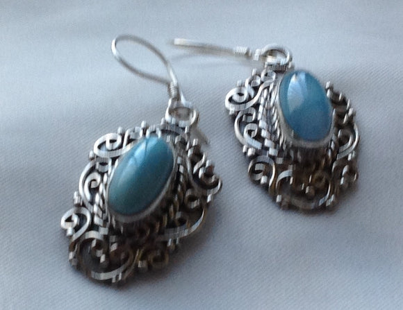 Sterling Silver Earrings:  Larimar, Artisan Crafted, hook style