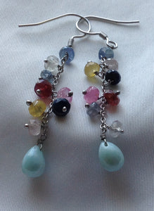 Sterling Silver Earrings:  Multi-Sapphire and Larimar Beads, hook style