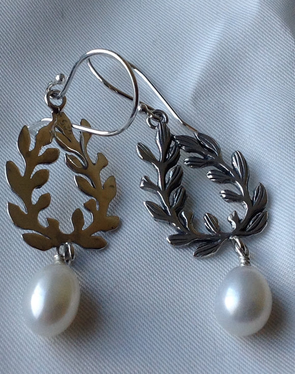 Sterling Silver Earrings:  Artisan Crafted Freshwater Pearl, hook style