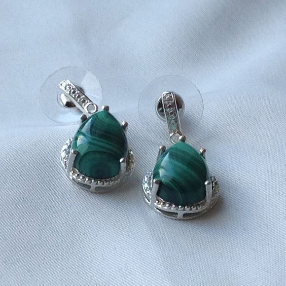 Sterling Silver Earrings:  African Malachite, post style