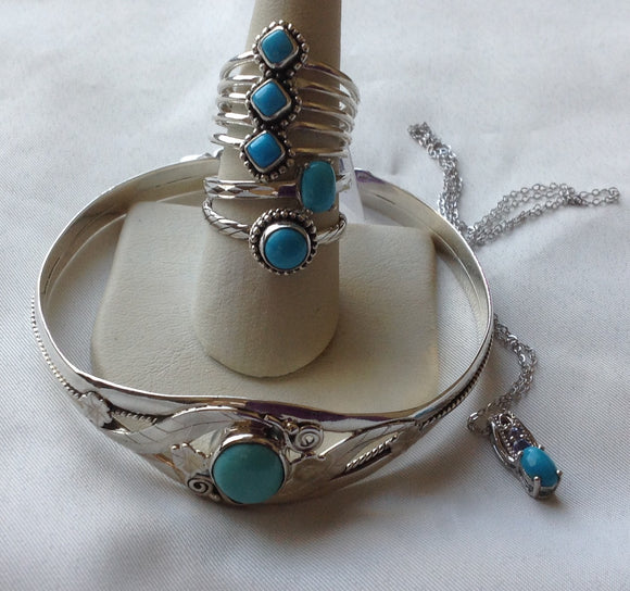 Sterling Silver AZ Sleeping Beauty Turquoise Rings,  size 5, 7, 9