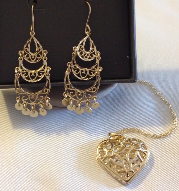 Sterling Silver And 14k Yellow Gold over Silver Filagree Heart Pendant and Earrings