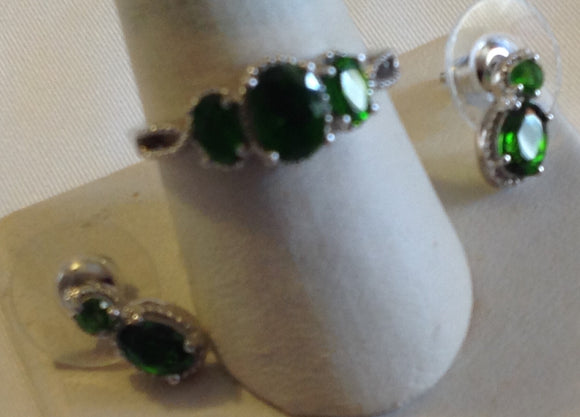 Sterling Silver Russian Diopside Ring and Earrings Set