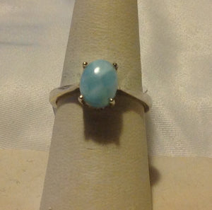 Sterling Silver Larimar Solitare Ring, size 7