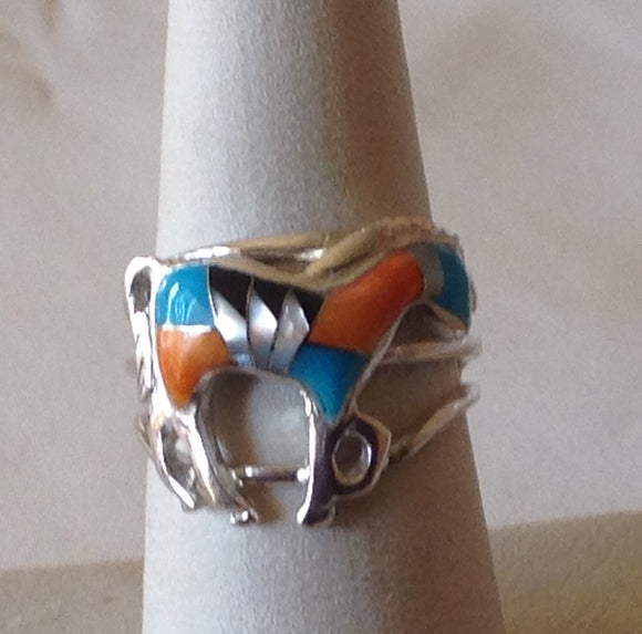 Sterling Silver Sante Fe Kingman Multi Color Turquoise Horse Ring, size 7