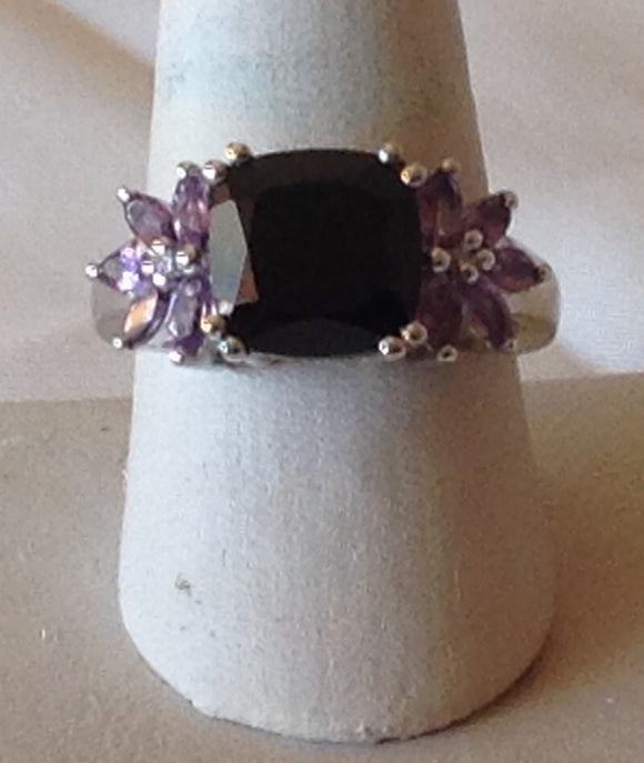 Sterling Silver Thai Black Spinel and Amethyst Ring, size 9