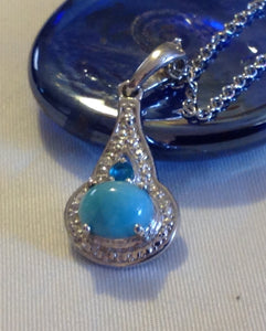 Sterling Silver Larimar Pendant with Chain