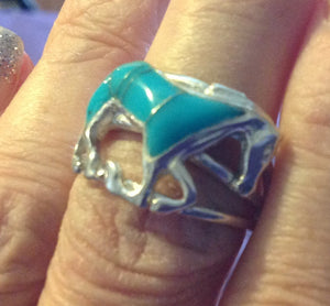 Sterling Silver Sante Fe style Kingman Blue Turquoise Horse Ring, sizes 7.5, 9.5