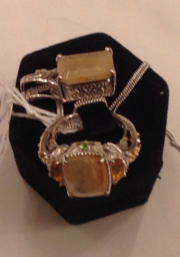 Sterling Silver Golden Rutilated Quartz Ring and Pendant