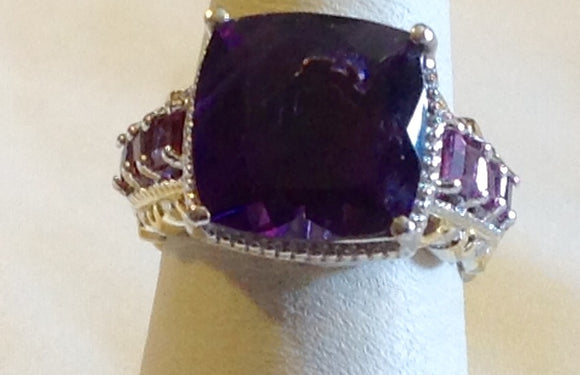 Sterling Silver Lusaka Amethyst with Garnets Ring, size 6
