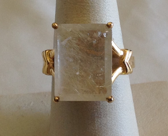 Sterling Silver Golden Rutilated Quartz Ring, size 7