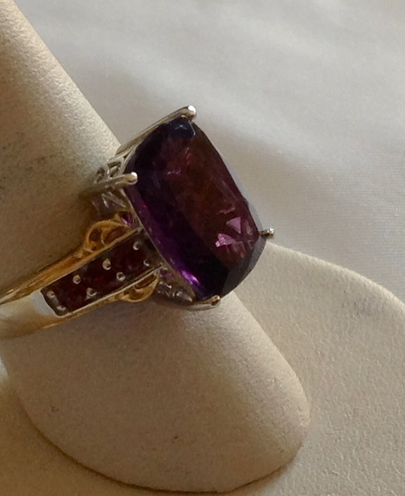 Sterling Silver Lusaka Amethyst and Garnet Ring, size 8