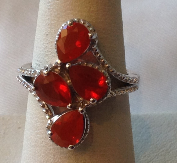 Sterling Silver Crimson Fire Opal Ring, size 6
