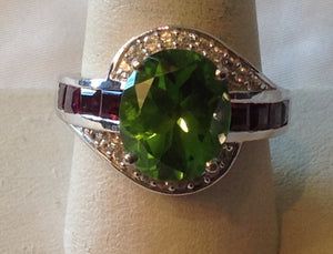 Sterling Silver Chartreuse Quartz Ring, size 9