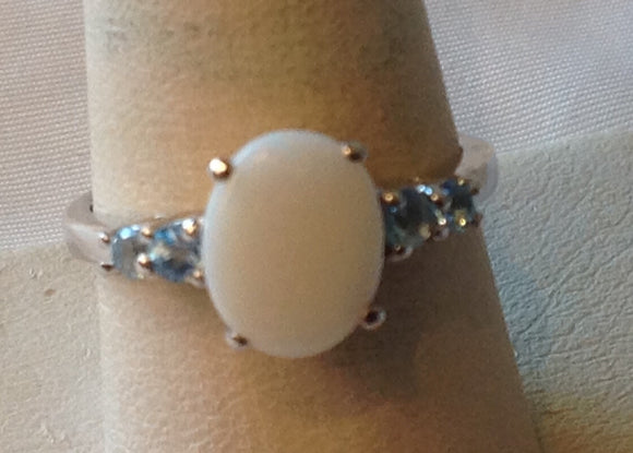 Sterling Silver Australian White Opal with Blue Topaz Ring, size 8