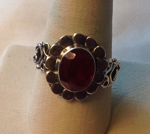 Sterling Silver Niassa Ruby Ring, size 9, Artisan Crafted