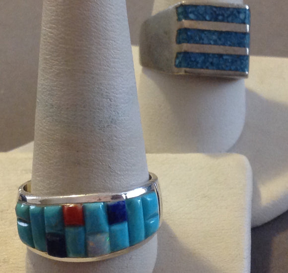 Sterling Silver Men's Blue Turquoise Rings, size 10 and 12