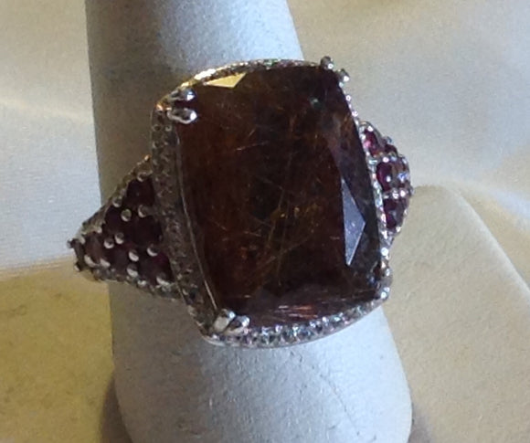 Sterling Silver Rutilated Quartz Ring, size 9